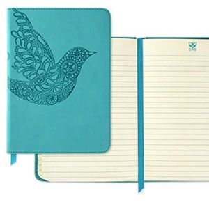 Teal Blue Softcover Journal Bird Design Leatherlike Material